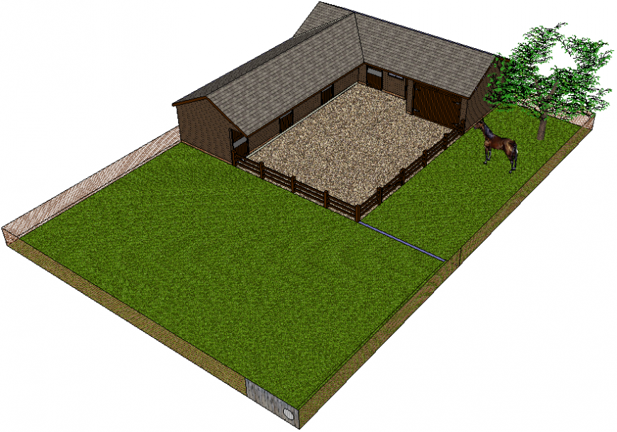 House type horse stable 3d drawing details dwg file