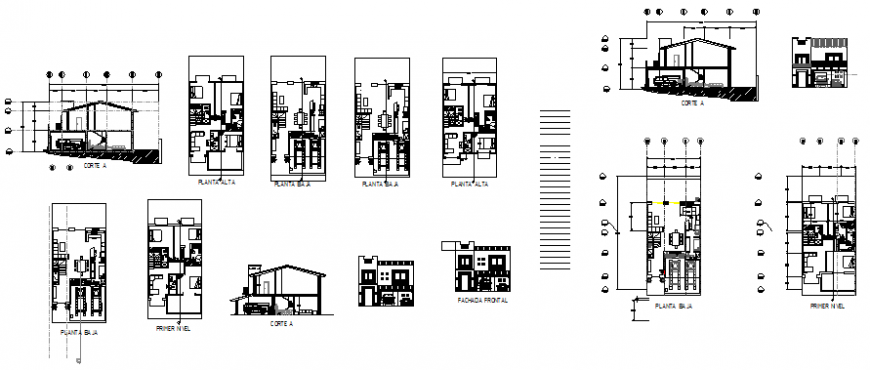 House with a yard, plan, elevation and section view dwg file