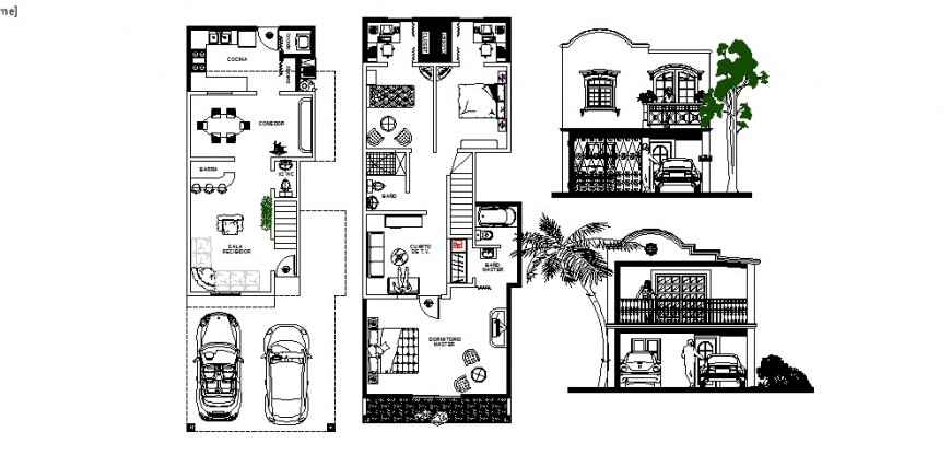 House with coconut tree plan and elevation in AutoCAD file