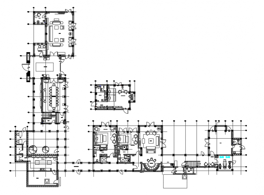 House with office layout plan and furniture layout plan cad drawing details dwg file