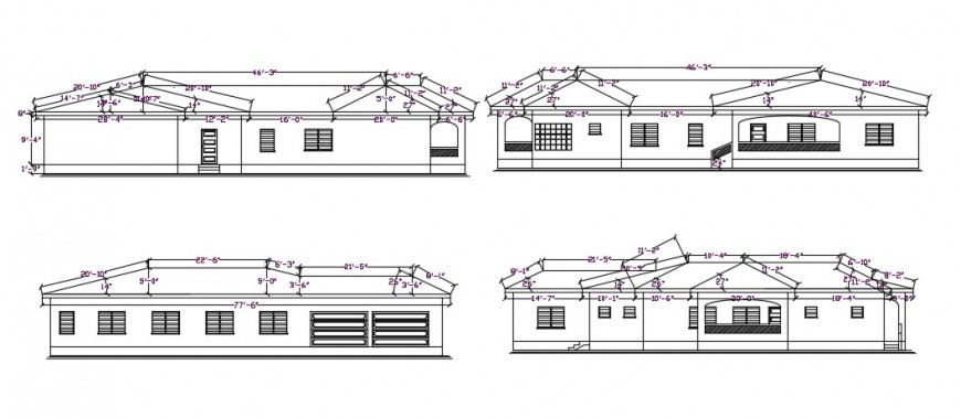 House with roof detail cad file