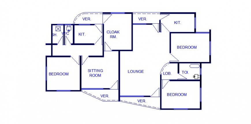 House with three bedroom general layout plan cad drawing details dwg file