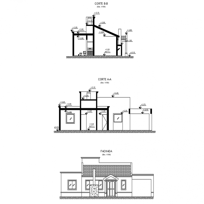 House with two rooms main elevation, section and side sectional view dwg file