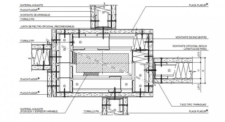 House wood door section, framing and installation details dwg file