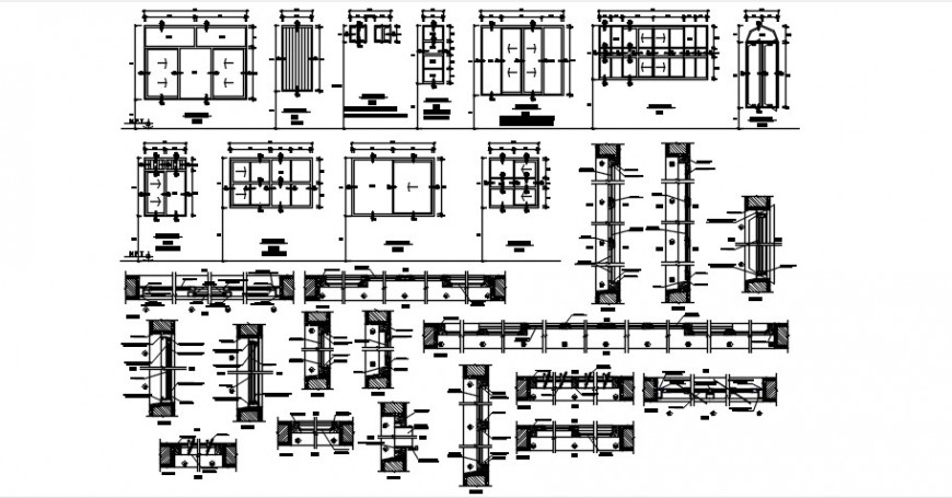 House wooden windows elevation and installation drawing details dwg file
