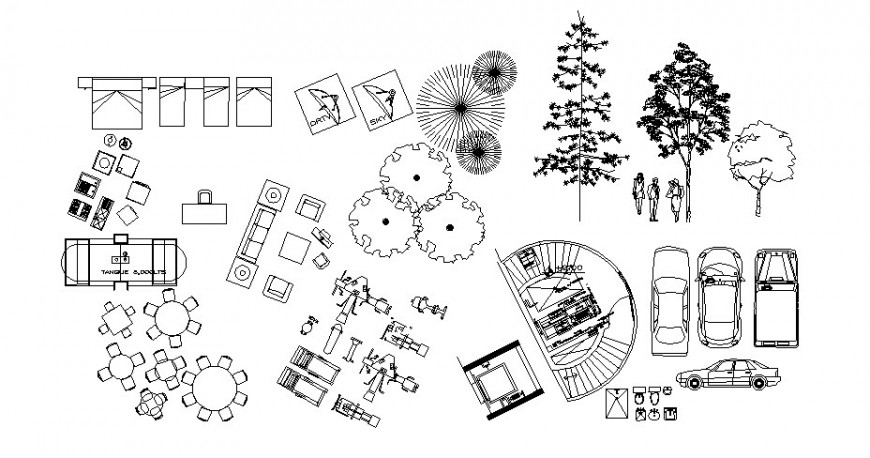 Household blocks and other furniture units detail drawing in autocad