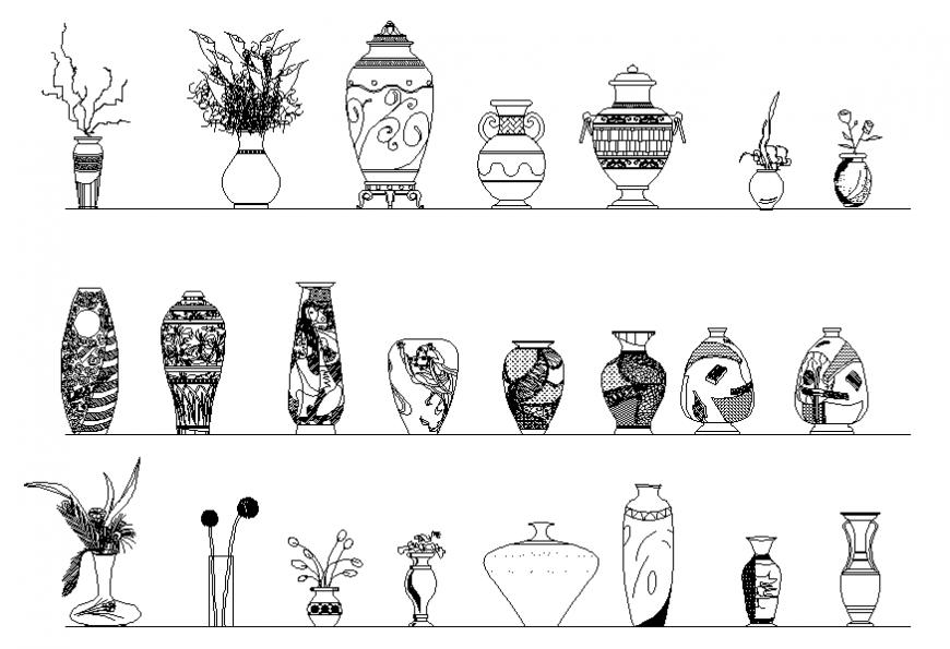 Household decorative flower vase blocks cad drawing details dwg file