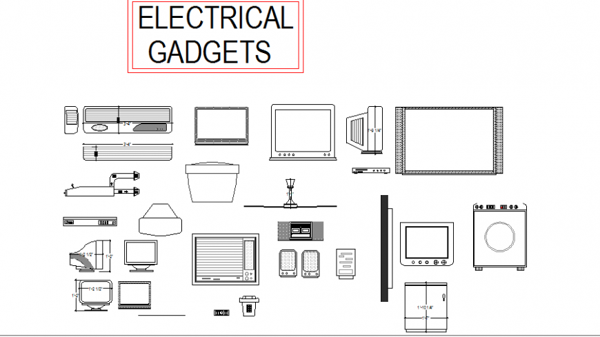 Household electrical gadgets blocks cad drawing details dwg file