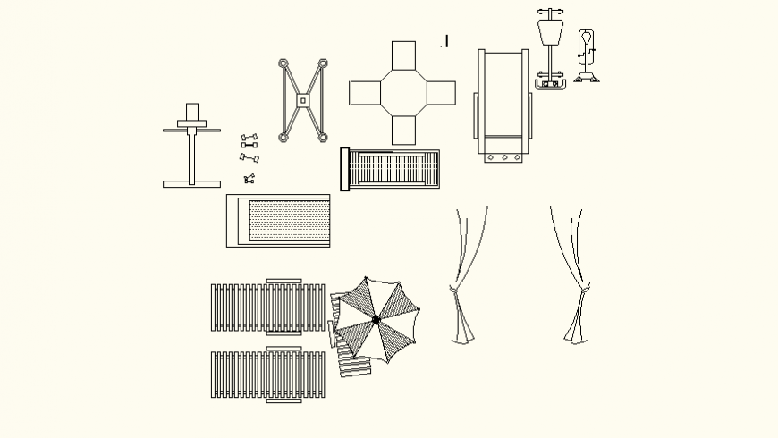 Household furniture detail elevation and plan autocad file