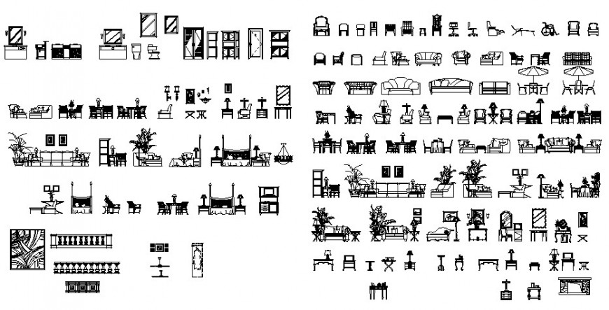 Household furniture units detail 2d drawing in autocad file