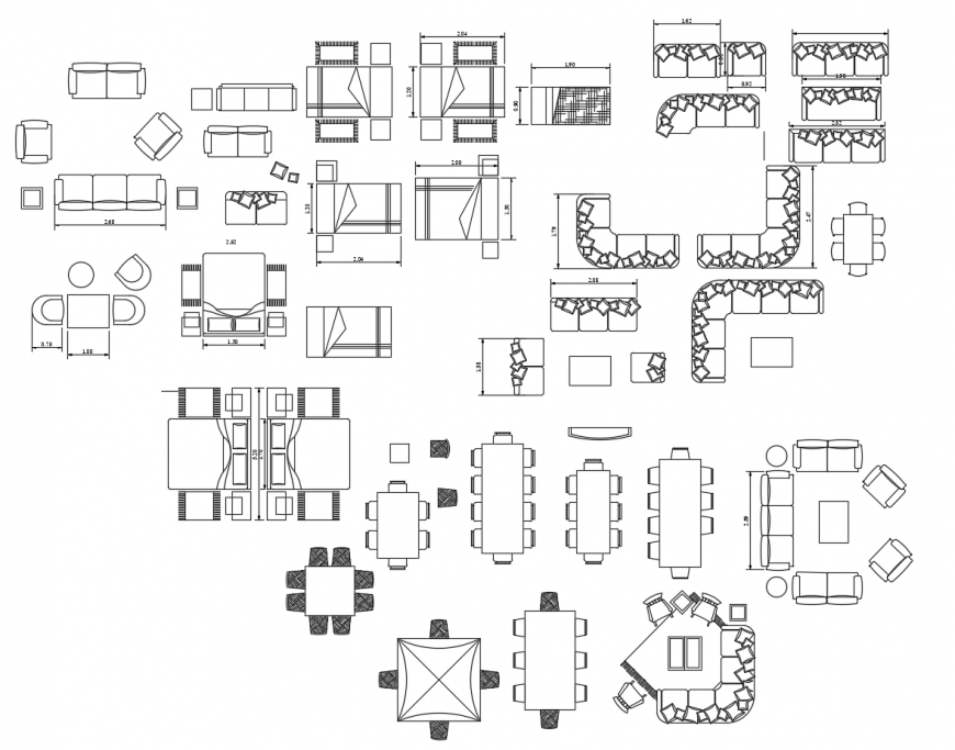 Household furniture units detail 2d view autocad file