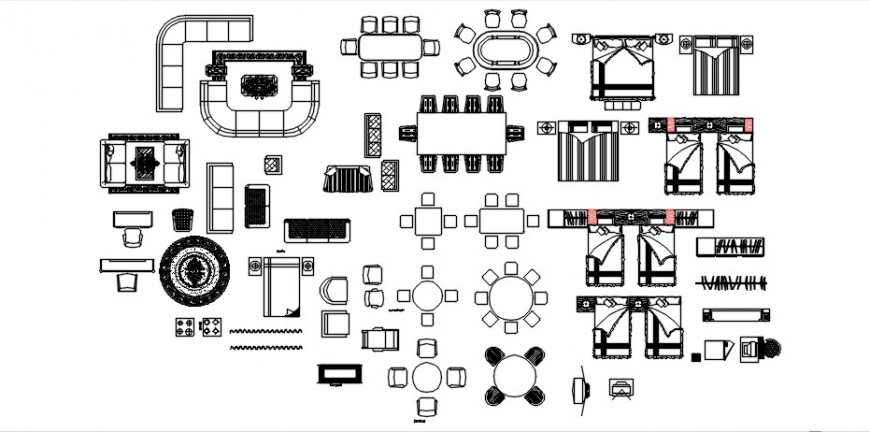 Household furniture units library drawings detail in autocad