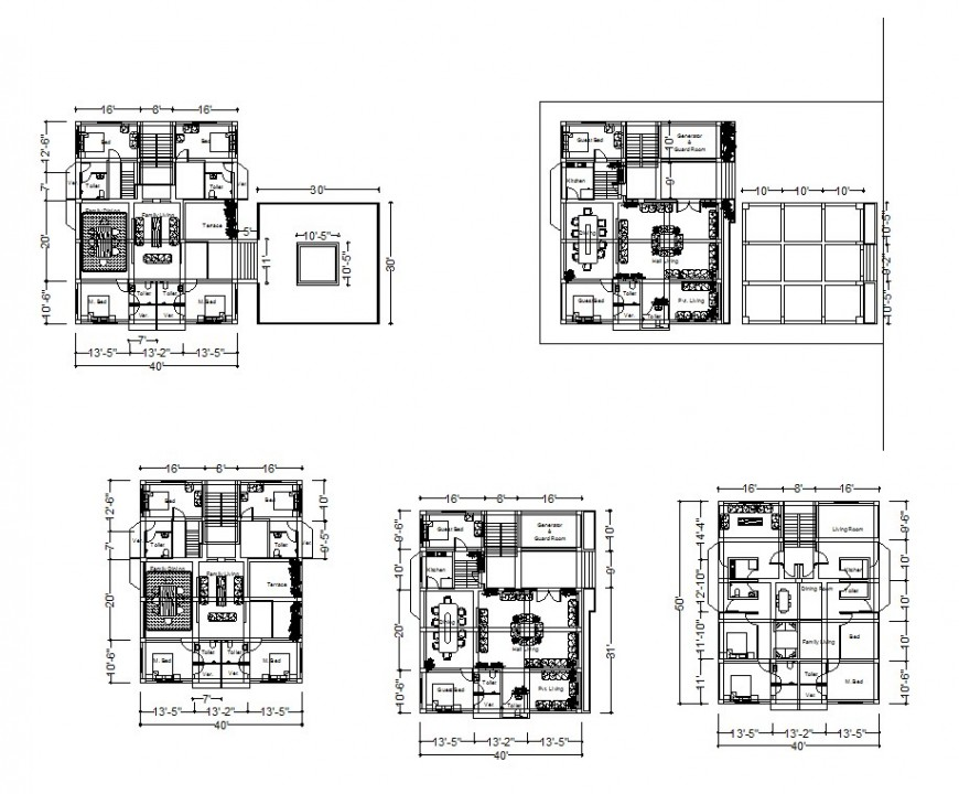 Houses floor plan in auto cad file