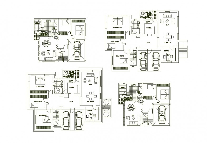 Houses of apartment building architecture layout plan cad drawing details dwg file