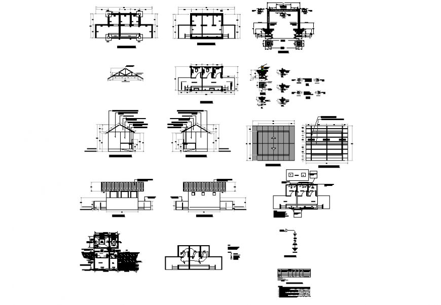 Housing and roof plan detail elevation dwg file