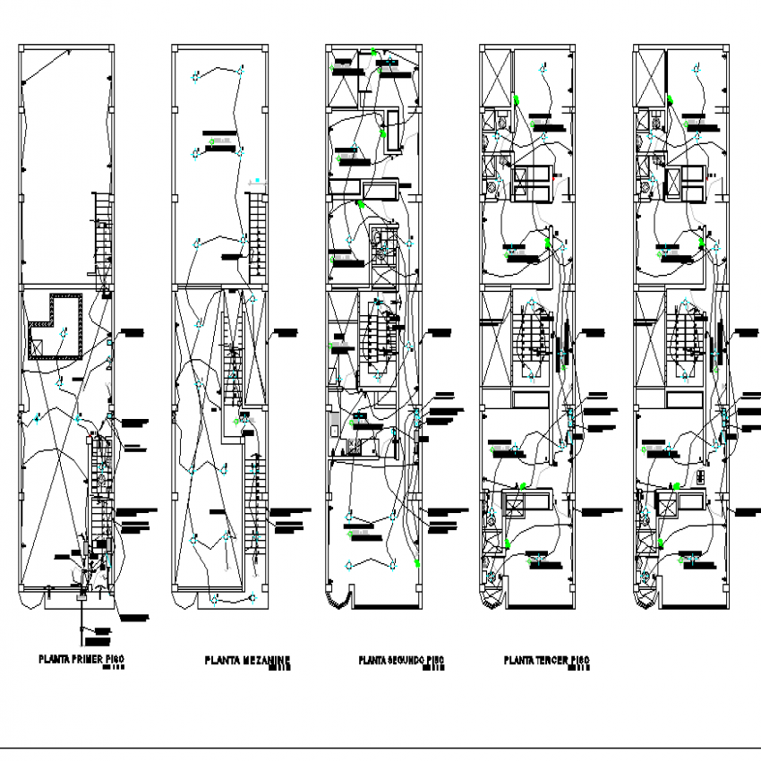 Housing and trade plan detailed dwg file.