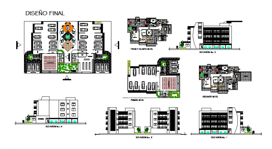 Housing apartment all sided elevation, section, final plan and floor plan details dwg file