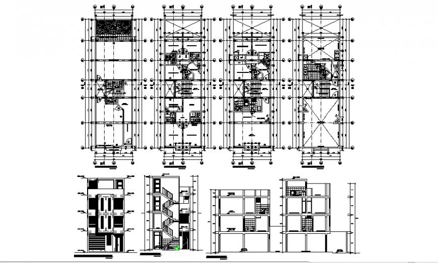 Housing apartment building elevation, section and floor plan cad drawing details dwg file