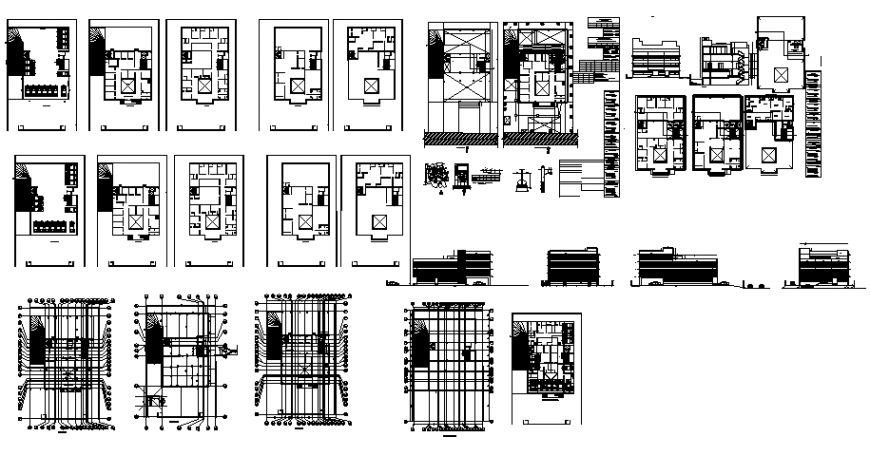 Housing apartment building multi-family elevation, section, floor plan and auto-cad details dwg file