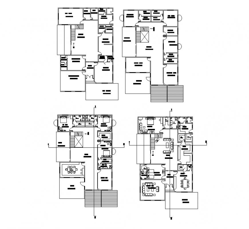 Housing apartment detail elevation 2d view autocad file