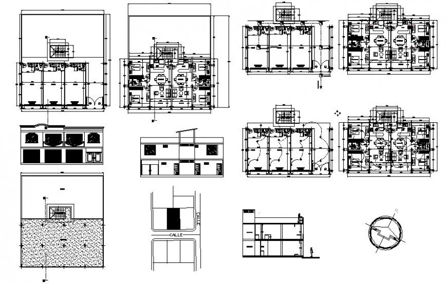 Housing apartment details work plan drawing 2d view dwg file