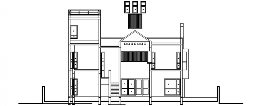 Housing apartment drawings 2d view elevation autocad dwg file