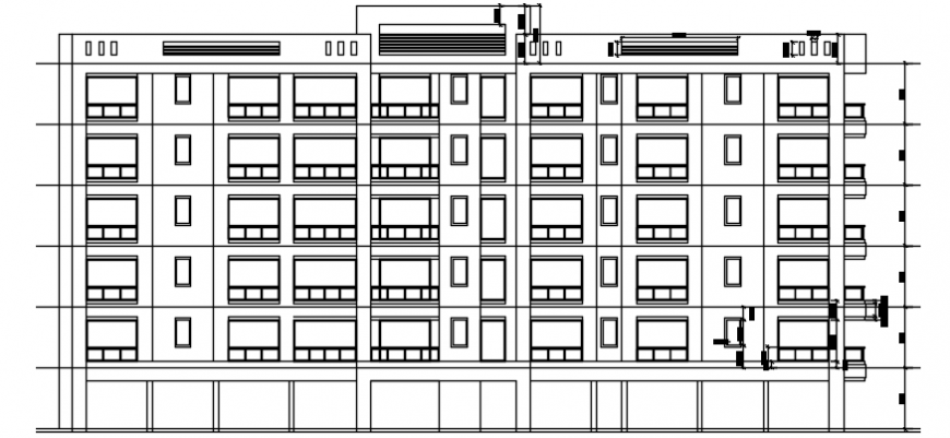 Housing apartment drawings 2d view elevation autocad software file