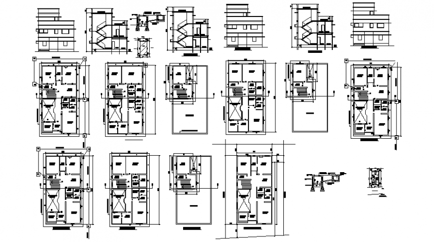 Housing apartment drawings 2d view floor plan elevation and section autocad file