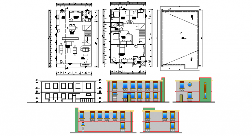Housing apartment drawings 2d view layout plan and elevation dwg file