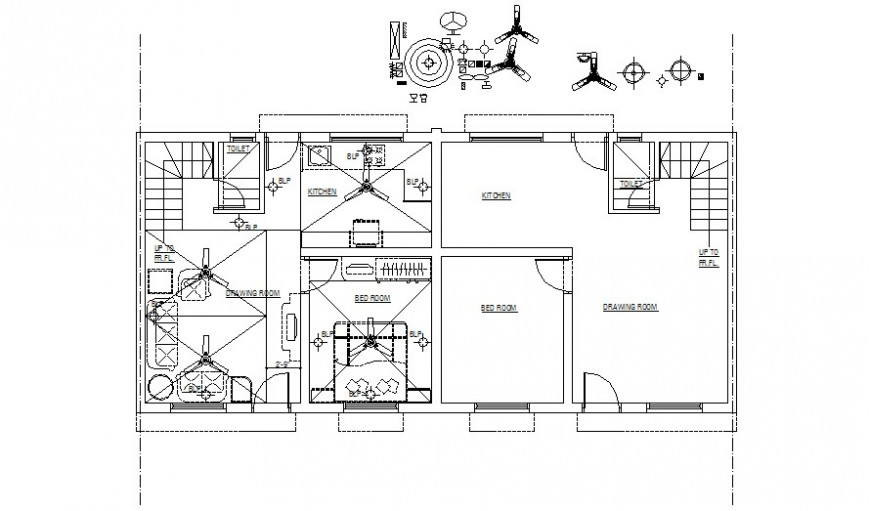 Housing apartment drawings 2d view work floor plan autocad file