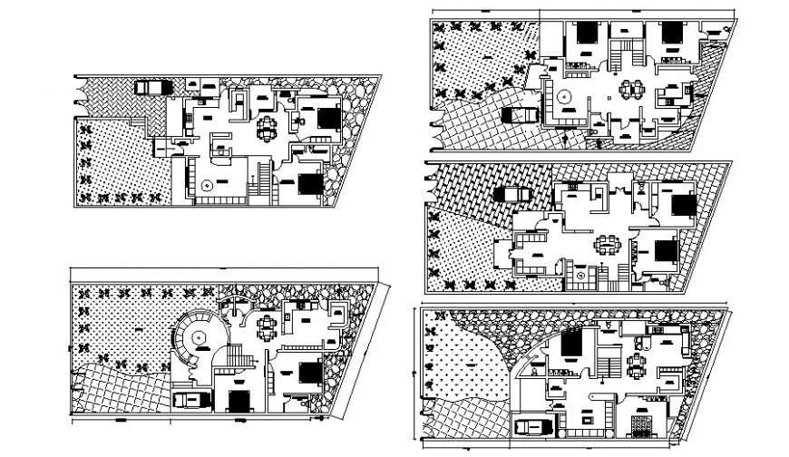 Housing apartment drawings detail 2d view center line plan autocad file t