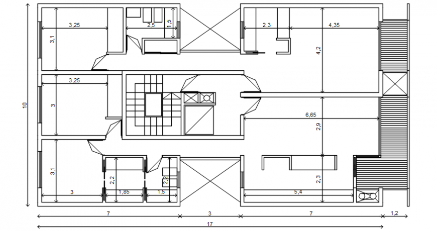 Housing apartment drawings detail 2d view floor layout plan dwg file