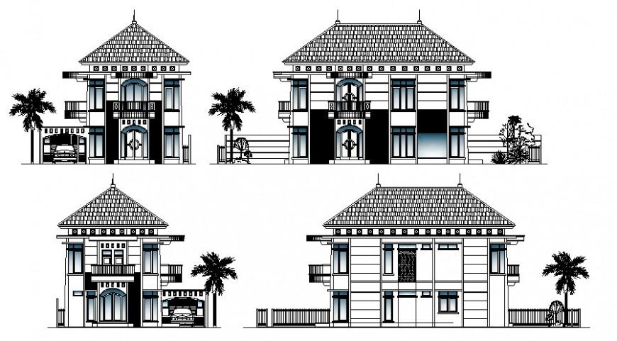 Housing apartment drawings details elevation 2d view autocad file