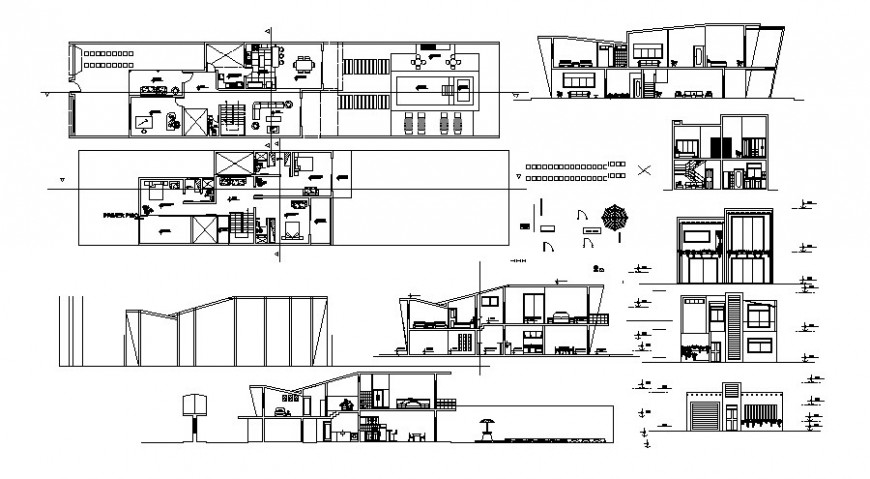 Housing apartment drawings details elevation plan and section autocad file