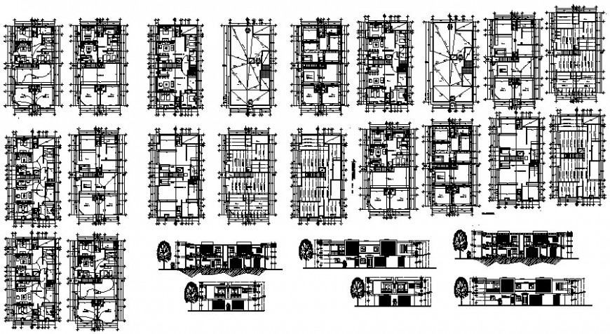Housing apartment drawings plan elevation and sectional details 2d view in dwg format