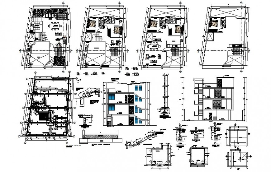 Housing apartment plan and section autocad file
