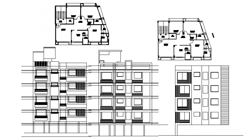Housing apartment plan elevation dwg autocad file