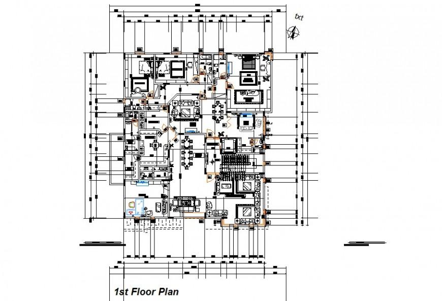 Housing block detail plan 2d view single story structure layout autocad file