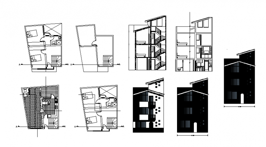 Housing blocks 2d view floor plan elevation and section dwg autocad file