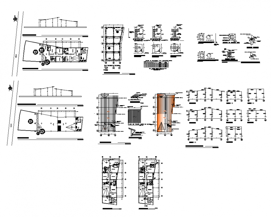 Housing building and different CAD construction structure layout dwg file