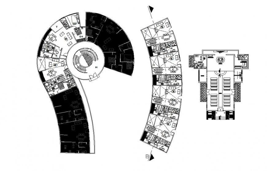 Housing building blocks floor plan distribution cad drawing details dwg file