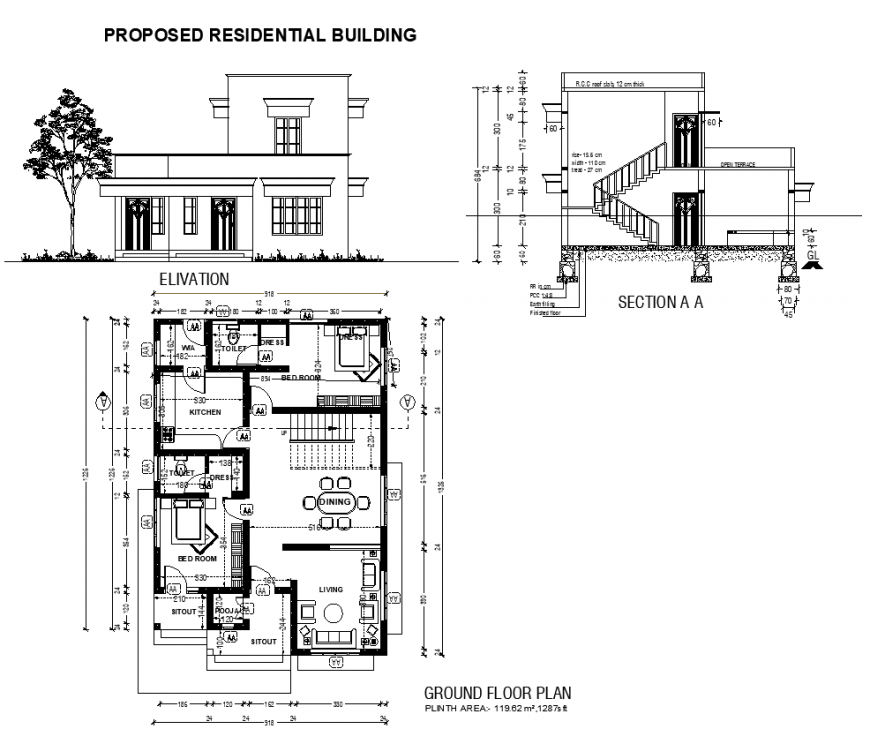 Housing building structure detail plan, elevation and section 2d view dwg file