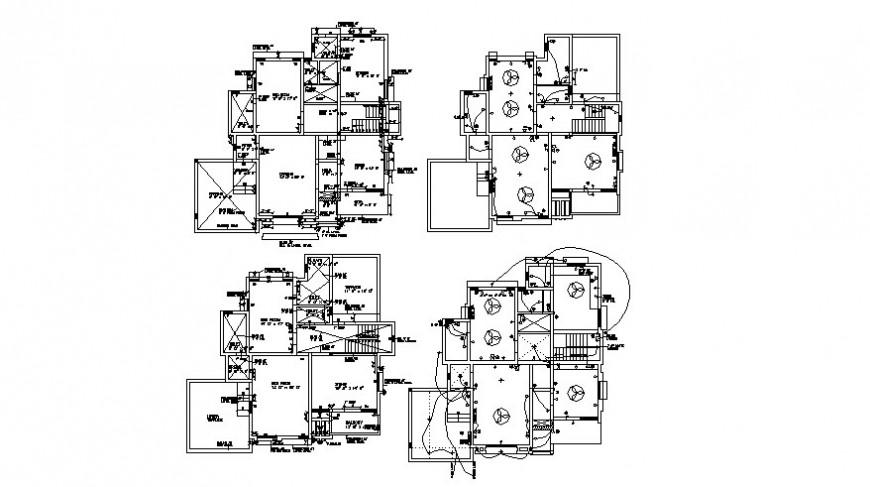 Housing bungalow 2d view work plan with electrical installation details autocad file