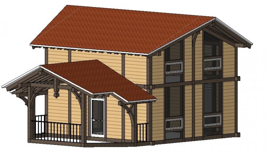 Housing bungalow details 3d model sketch-up drawings