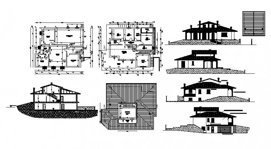 Housing bungalow drawings detail 2d view elevation plan and section dwg file