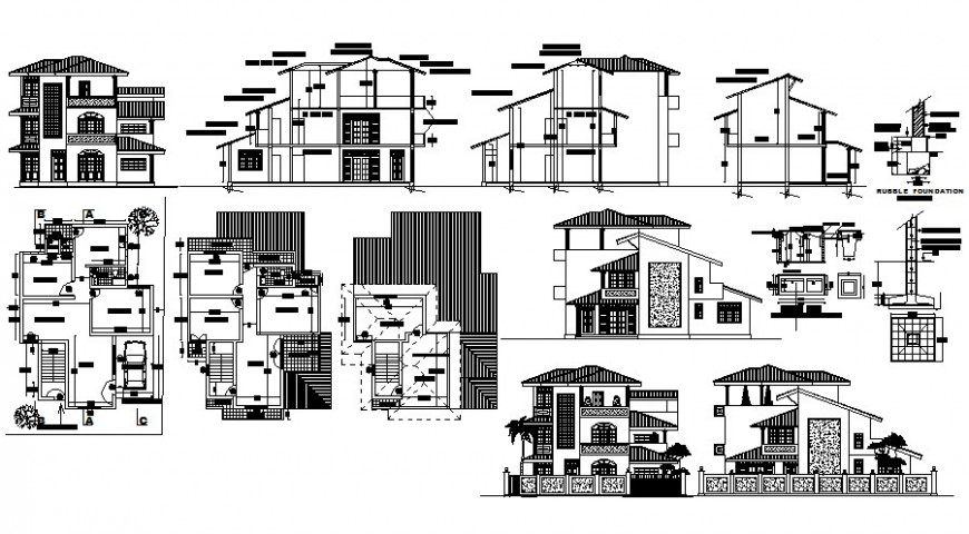 Housing bungalow drawings detail 2d view work plan elevation autocad software file