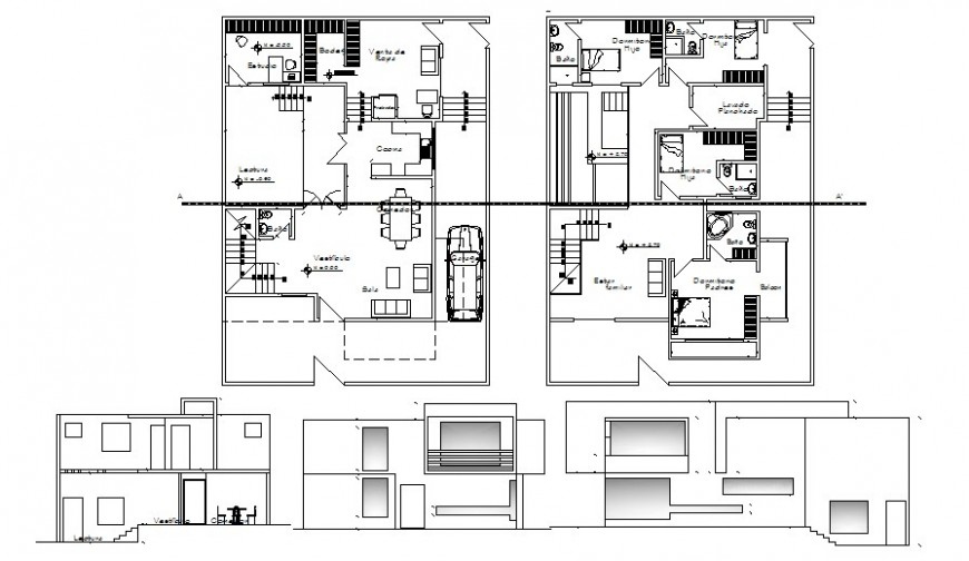 Housing bungalow drawings details plan elevation and section dwg file
