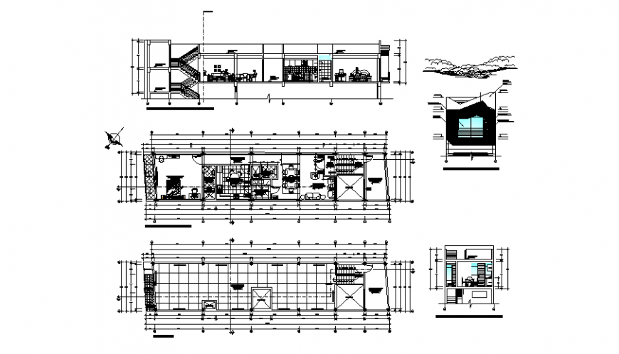 Housing department sections and floor plan cad drawing details dwg file
