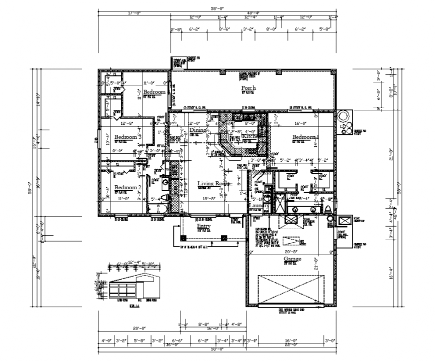 Housing design with architectural plan dwg file