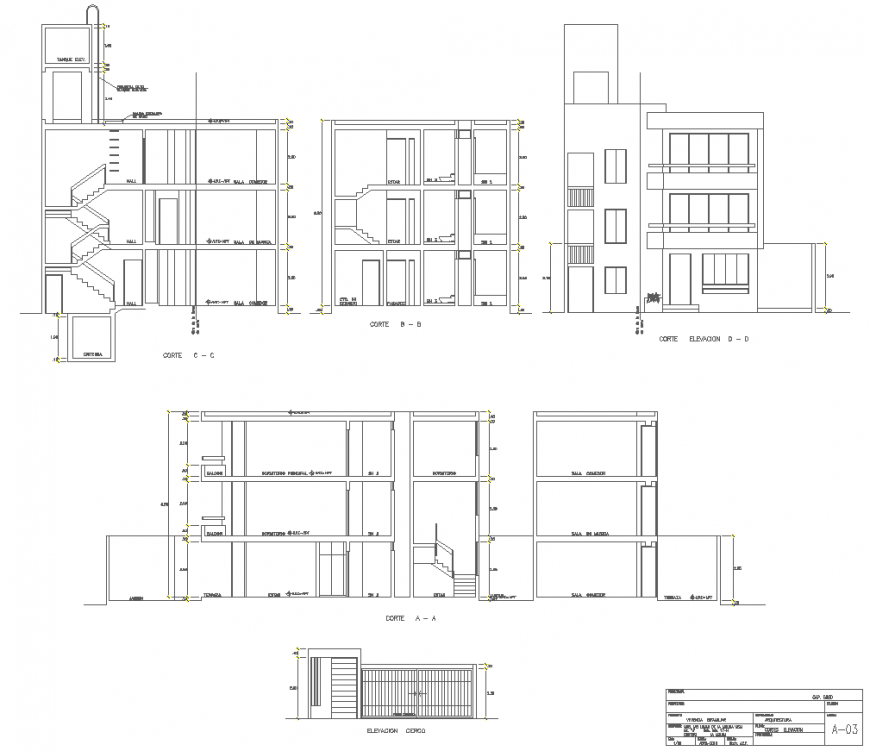 Housing detail section drawing in dwg file.